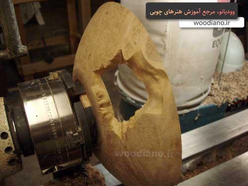 ساخت کاسه چوبی با دستگاه خراطی